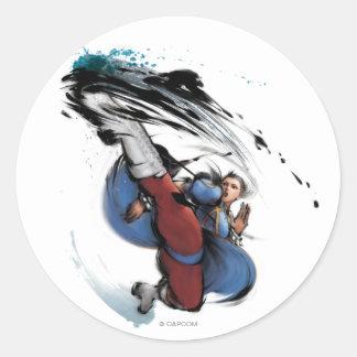 Chun-Li Kick Classic Round Sticker