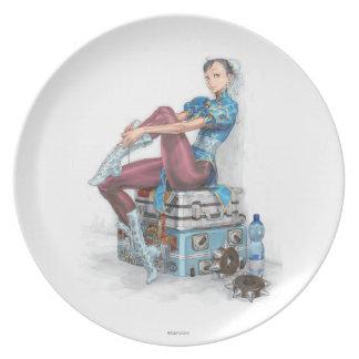 Chun-Li Tying Shoe Dinner Plate