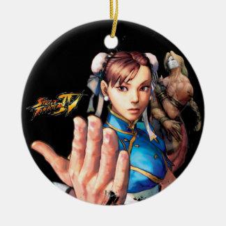 Chun-Li Vs. Vega Double-Sided Ceramic Round Christmas Ornament