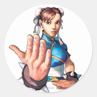 Chun-Li With Hand Up Classic Round Sticker