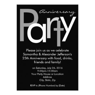 Chunky Black White Anniversary Party Invitation