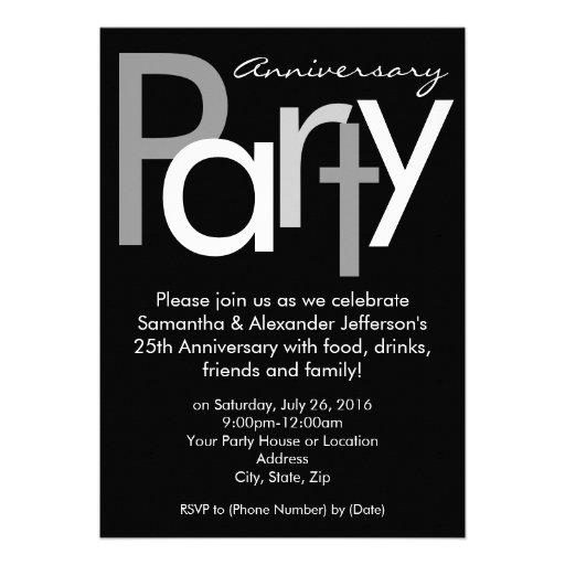 Chunky Black / White Anniversary Party Invitation