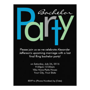 Chunky Block Blue Black Bachelor Party Invitation