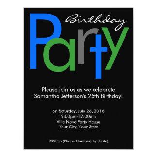 Chunky Block Blue Black Birthday Party Invitation