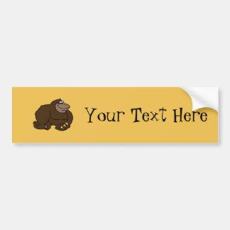 Chunky Brown Ape Gorilla Car Bumper Sticker