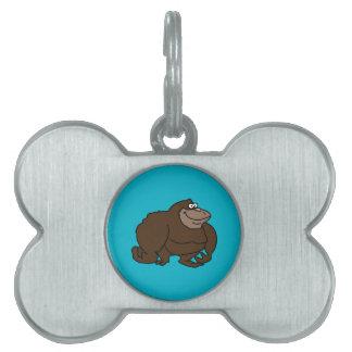 Chunky Brown Ape Gorilla Pet ID Tag