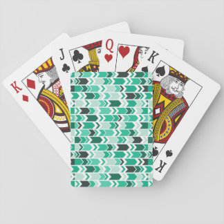 Chunky Chevron Arrows Blue Green & White Playing Cards
