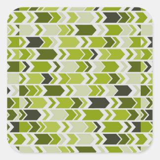 Chunky Chevron Arrows Lime Green Square Sticker