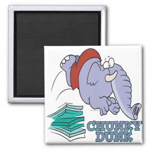 chunky dunk funny diving elephant 2 inch square magnet