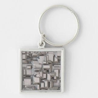 Chunky Heavy Metal Cubes Keychain