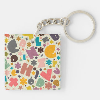 Chunky Letters Design Keychain