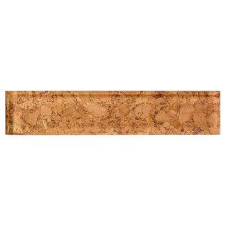 Chunky Natural Cork Wood Grain Look Desk Name Plate
