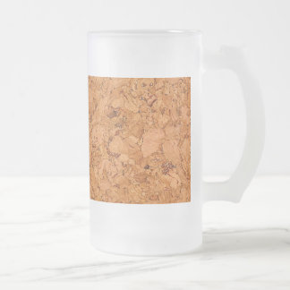 Chunky Natural Cork Wood Grain Look Frosted Glass Beer Mug