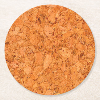 Chunky Natural Cork Wood Grain Look Round Paper Coaster