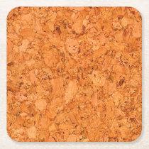 Chunky Natural Cork Wood Grain Look Square Paper Coaster