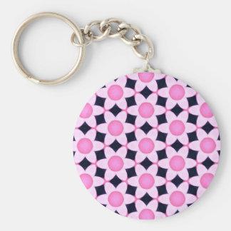 Chunky Pink Daisies on Black Keychain