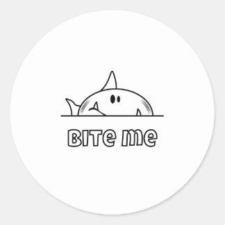 Chunky Shark Bite Me Classic Round Sticker