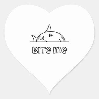 Chunky Shark Bite Me Heart Sticker