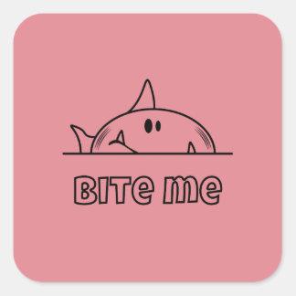 Chunky Shark Bite Me Square Sticker