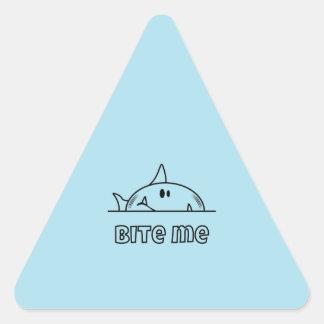 Chunky Shark Bite Me Triangle Sticker