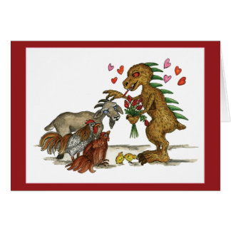 Chupacabra and Goat Valentine's Day Card