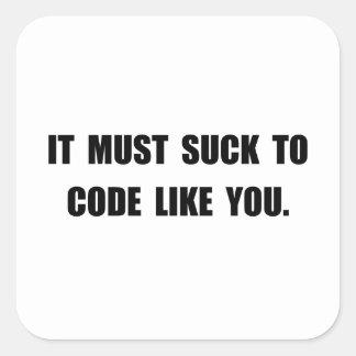 Chupe el código pegatina cuadrada