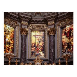 Church altar altarpiece glassart postcard