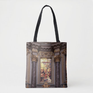 Church altar altarpiece glassart tote bag