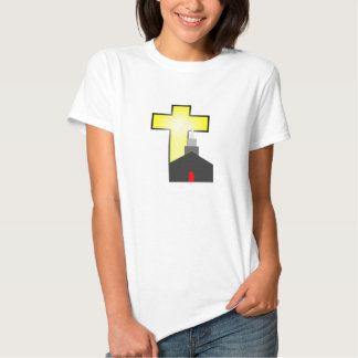 Church and bright yellow and white cross t-shirt