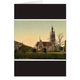 Church and Grey House, park of Worlitz, Anhalt, Ge Greeting Card