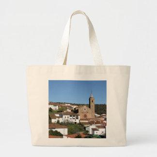 Church and historical helmet of Valdelarco, Huelva Large Tote Bag