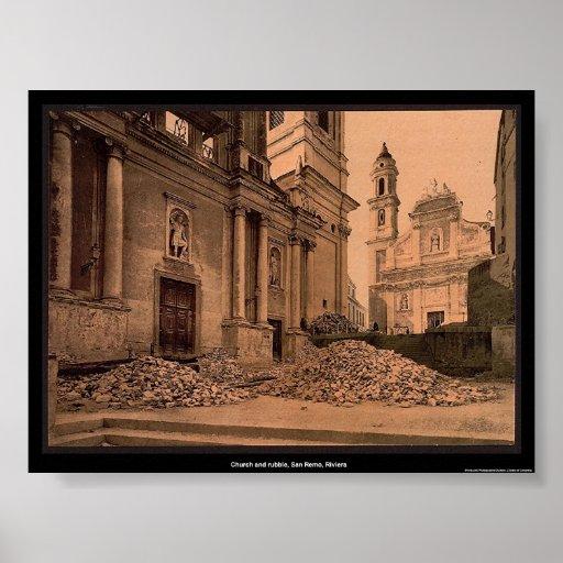 Church and rubble, San Remo, Riviera Poster