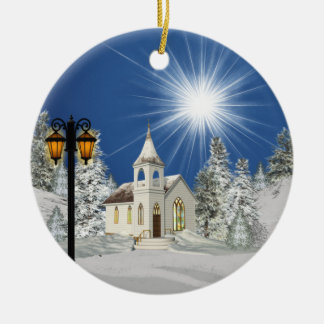 Church and Star Christmas Eve Ceramic Ornament