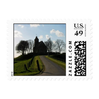 Church and Trees on Hill Silhouette Postage Stamps