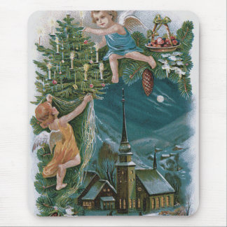 Church Angel Cherub Christmas Tree Mouse Pad