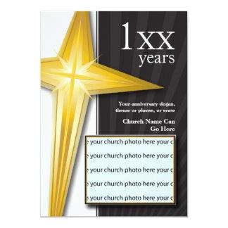Church Anniversary Golden Cross Card