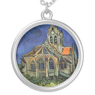 Church at Auvers by Vincent van Gogh Round Pendant Necklace