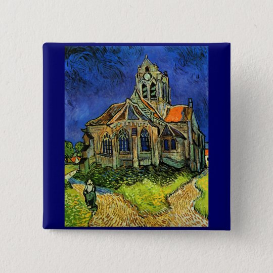 Church at Auvers Van Gogh Fine Art Pinback Button