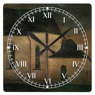 Church at Twilight Square Wall Clock
