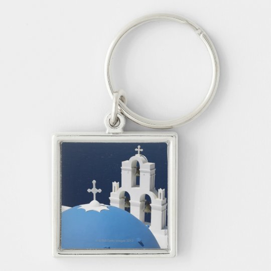 Church bells and crosses by dome in Greece Keychain