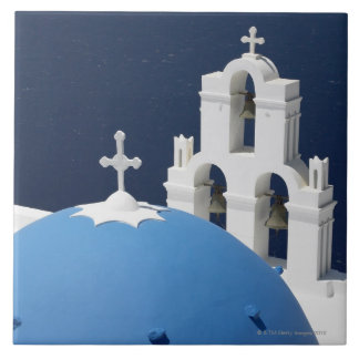 Church bells and crosses by dome in Greece Tile