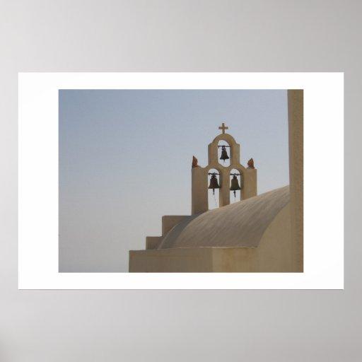 Church bells in Santorini Posters