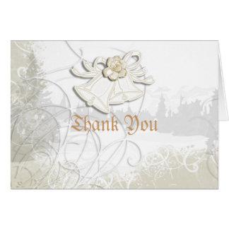 Church bells n floral wedding white greeting cards