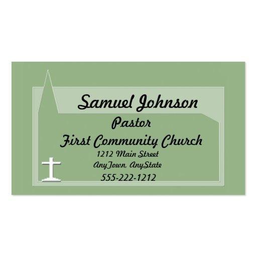 Church business card for Pastor or Minister