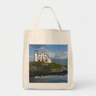 Church by the sea tote bag