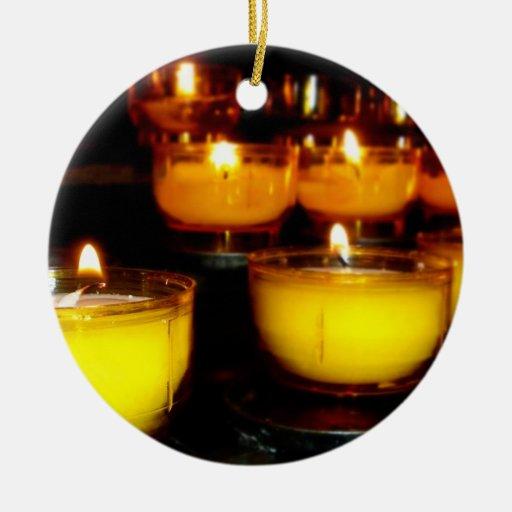 Church Candles Ceramic Ornament