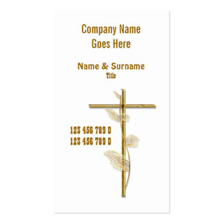 Church Christ religion cross gold white Business Cards