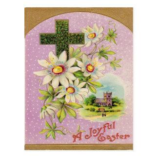 Church Christian Cross Daisy Postcard