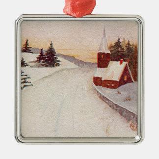 Church Christian Snow Winter Metal Ornament