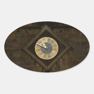 Church Clock Oval Sticker